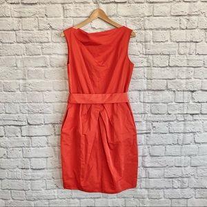 LIDA BADAY Coral Silk Dress with Belt